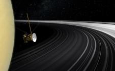 Vue d'artiste de Cassini entre Saturne et ses anneaux